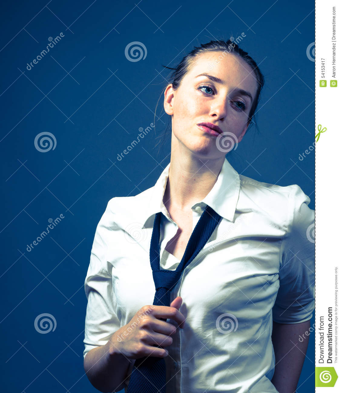 American Woman In White Shirt & Tie Stock Photo - Image: 54153417