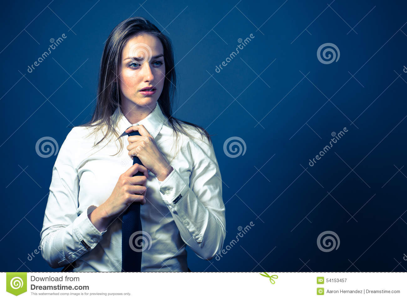 American Woman In White Shirt & Tie Stock Photo - Image: 54153545