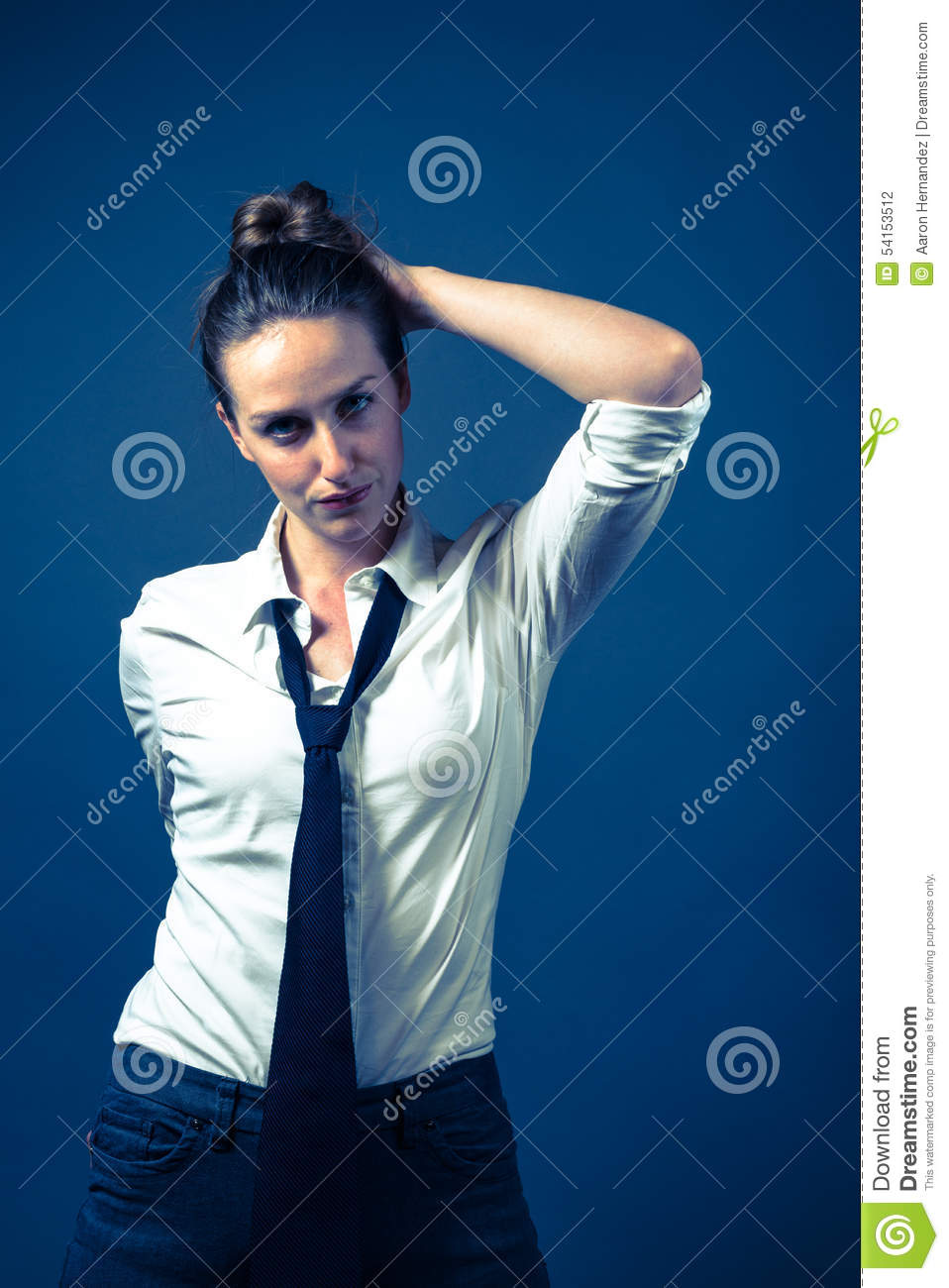 American Woman In White Shirt & Tie Stock Photo - Image: 54153512