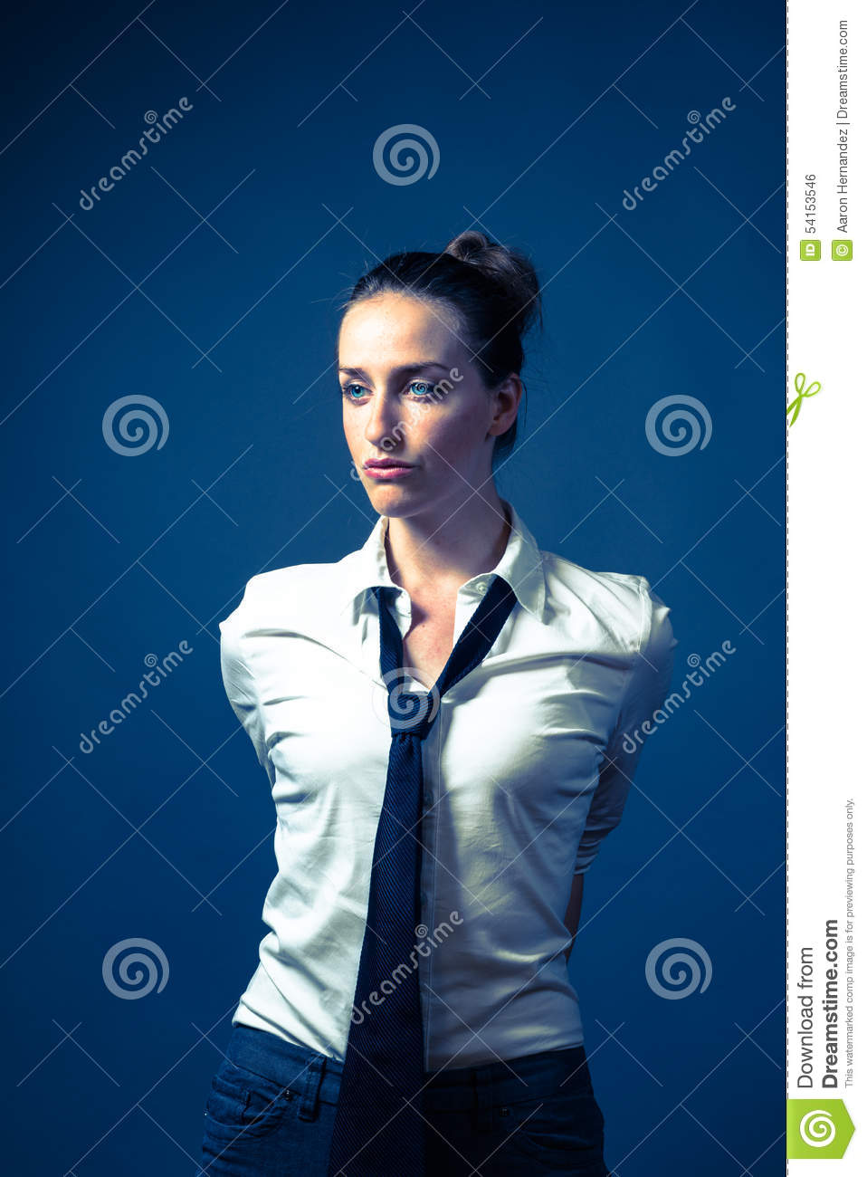 American Woman In White Shirt & Tie Stock Photo - Image: 54153546