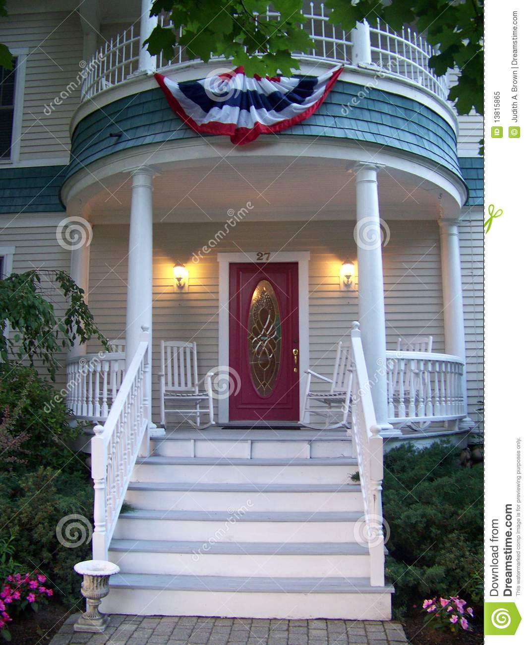 Front Porch Of Yellow House Stock Photo: Americana Front Porch Royalty Free Stock Photo