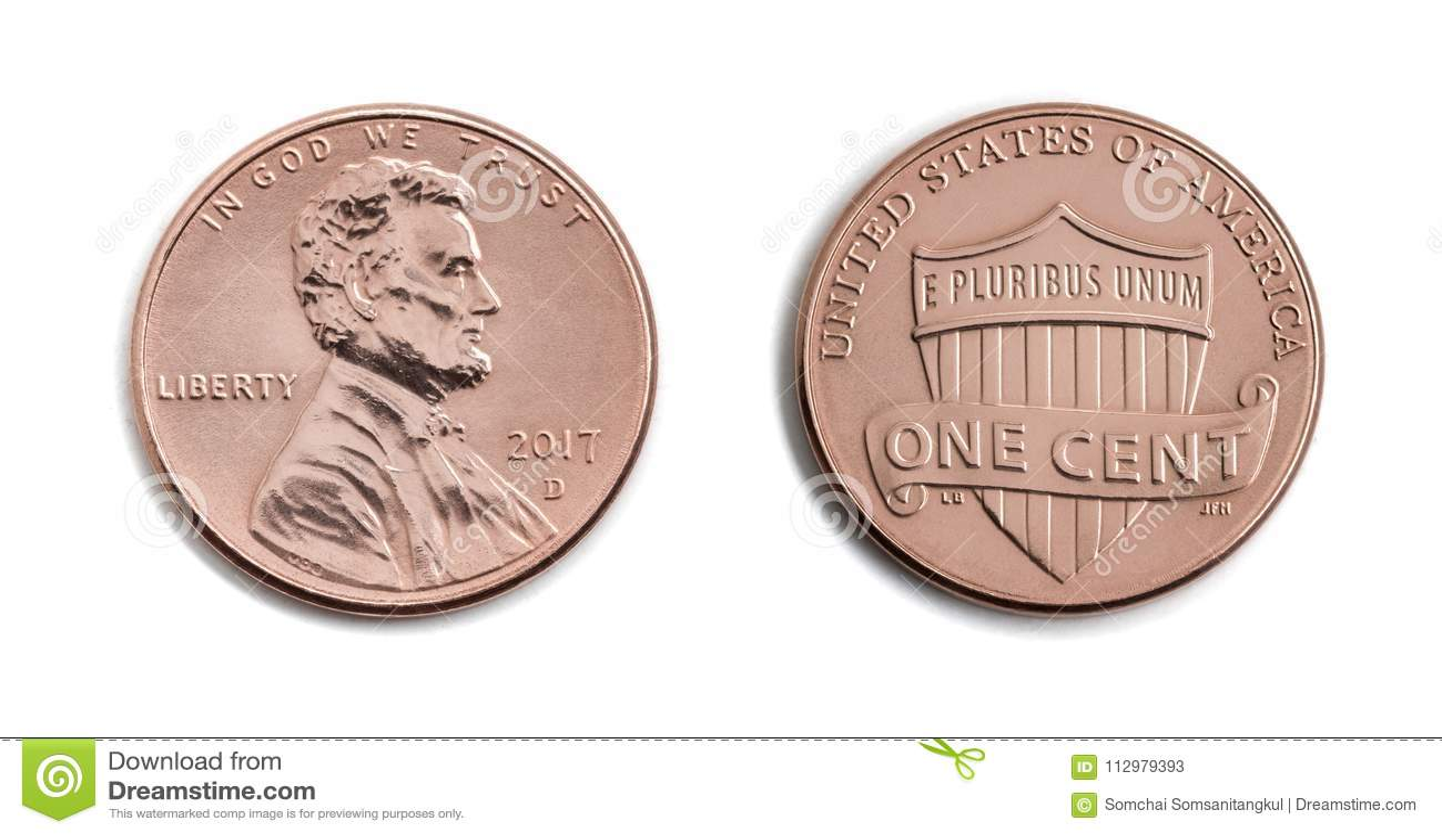 Americano um centavo, EUA 1 c, isolado de bronze da moeda no backgro branco