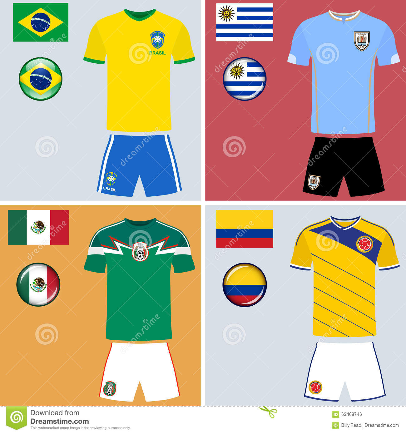 cde538a8da4 Set of vector graphic images representing the national football jerseys of  Brazil, Uruguay, Mexico and Colombia.