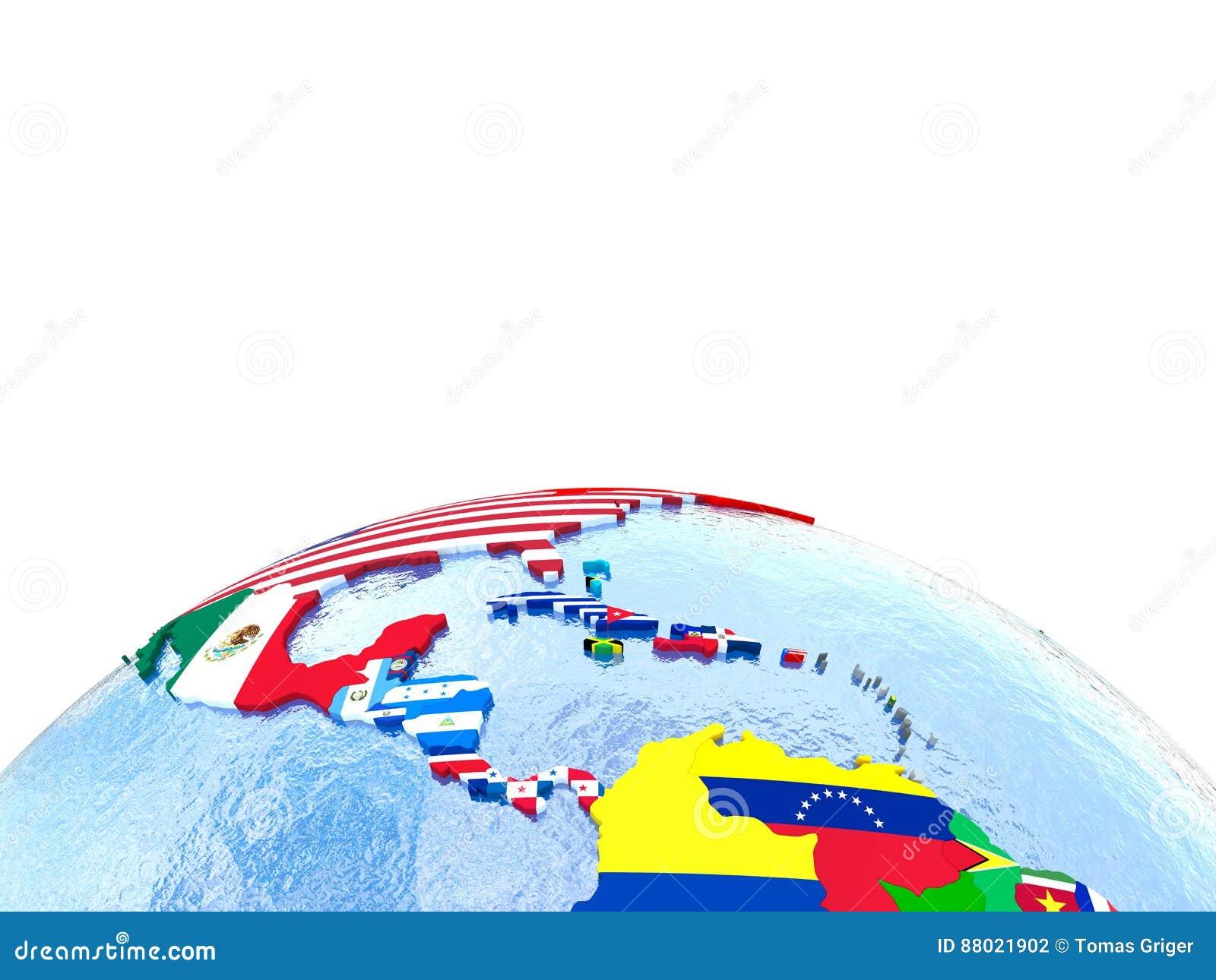 Americas på det politiska jordklotet med flaggor