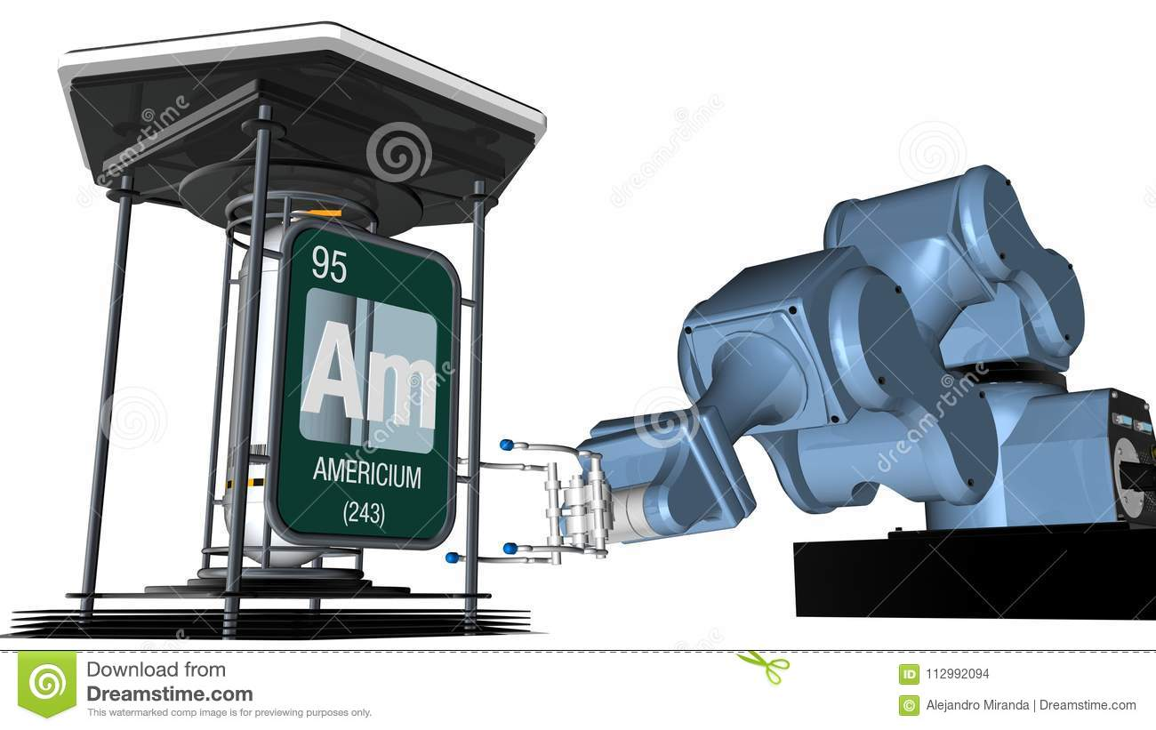 Americium symbol in square shape with metallic edge in front of a mechanical arm that will hold a chemical container. 3D render.