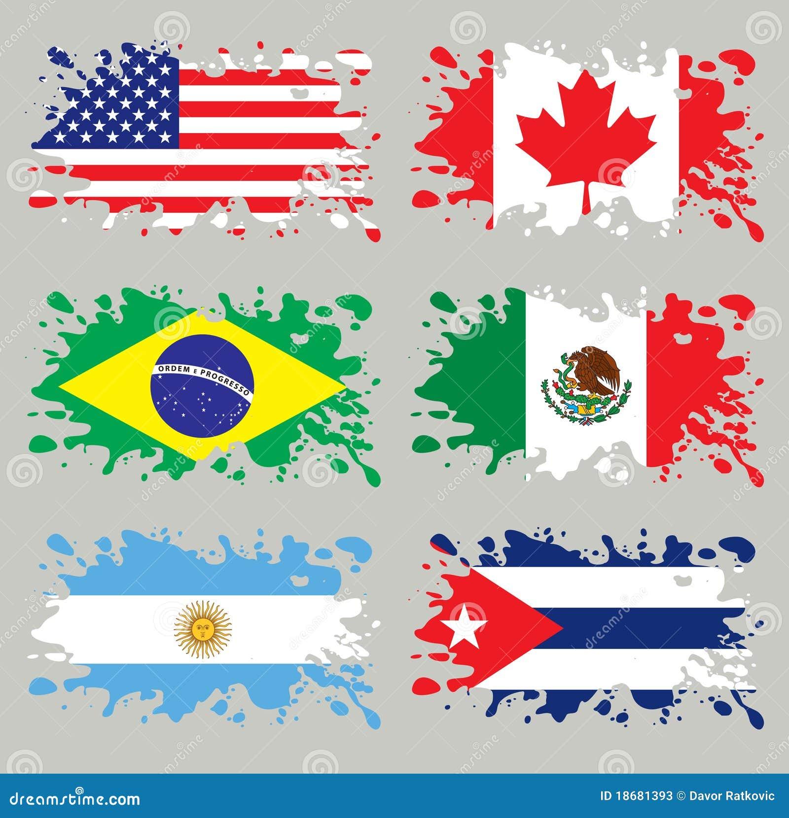 Amerika flaggor inställd färgstänk