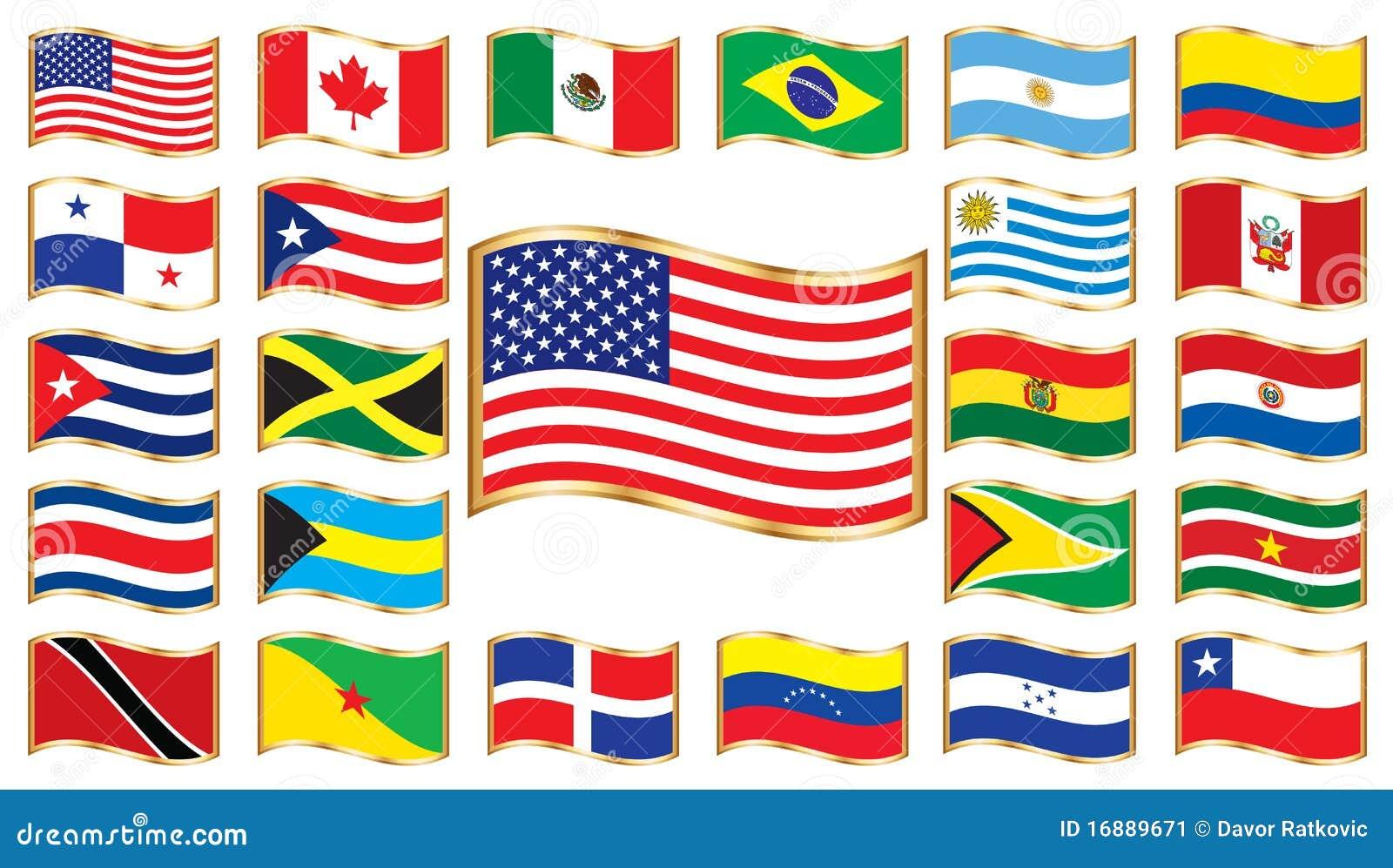 Amerika flags wavy ramguld