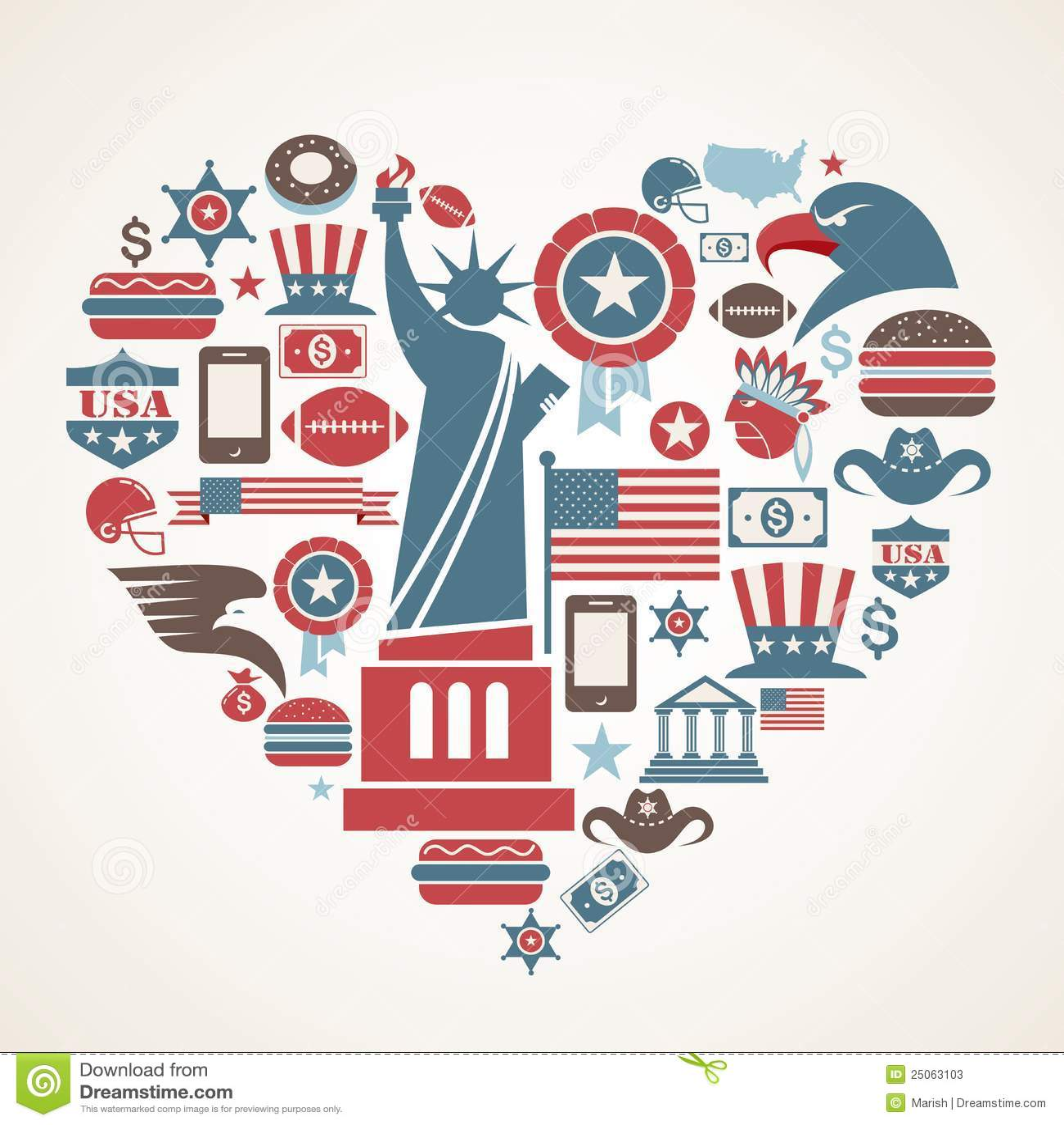 Amerika hjärtasymboler älskar många formvektorn