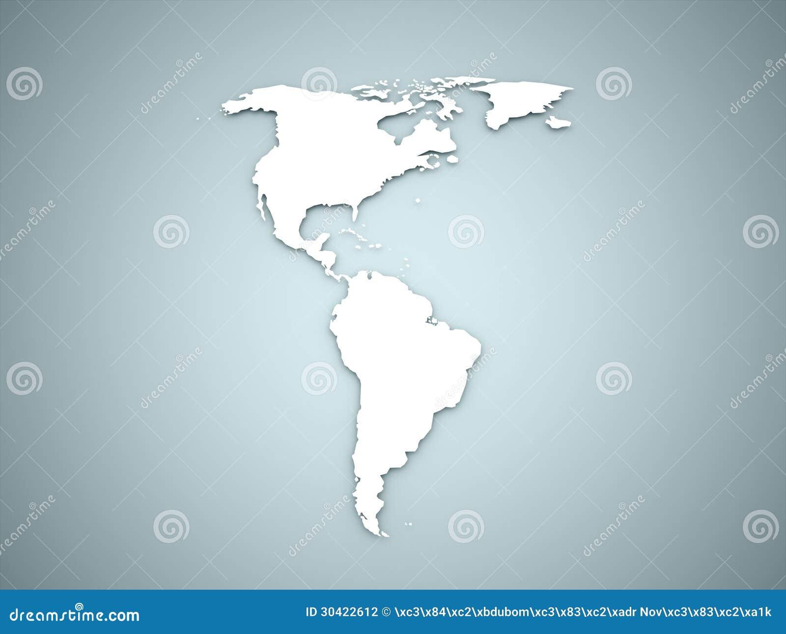 Amerika kontinent på blått