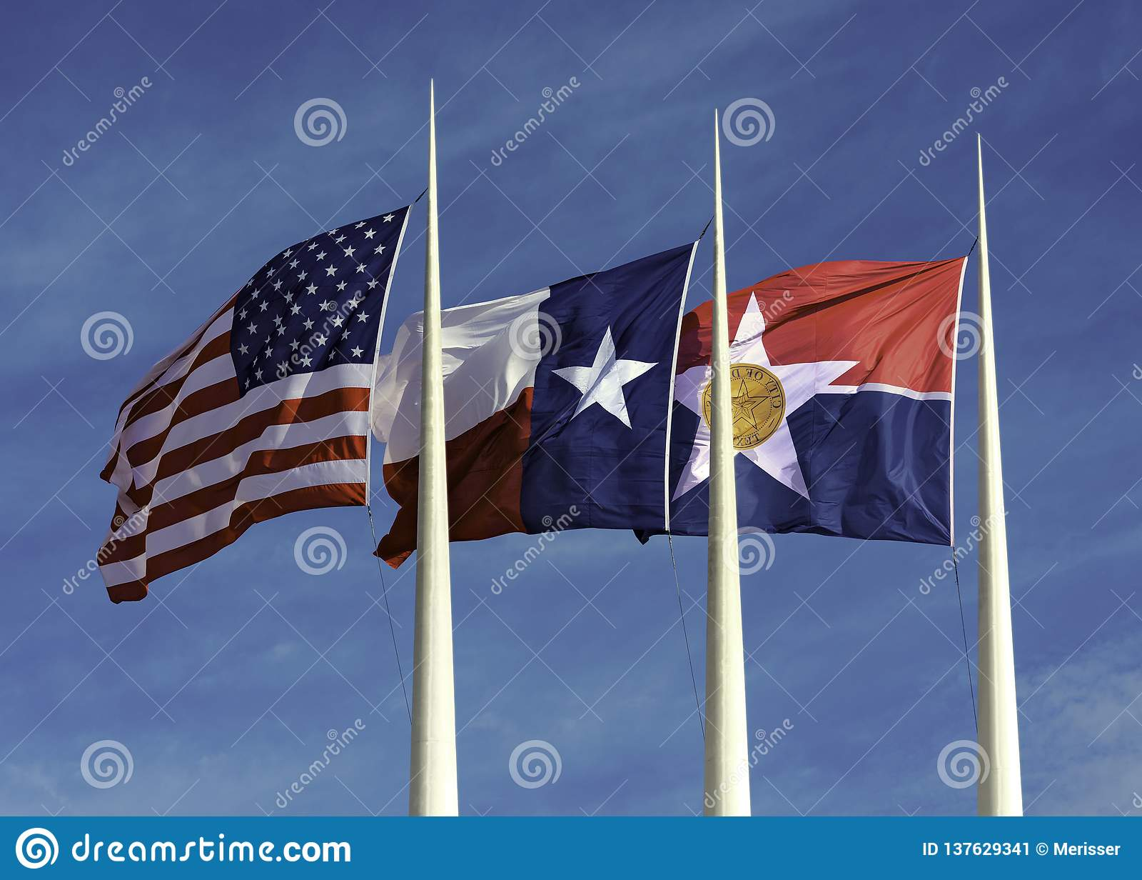 Amerikaan, Texas en Stad van Dallas Flags
