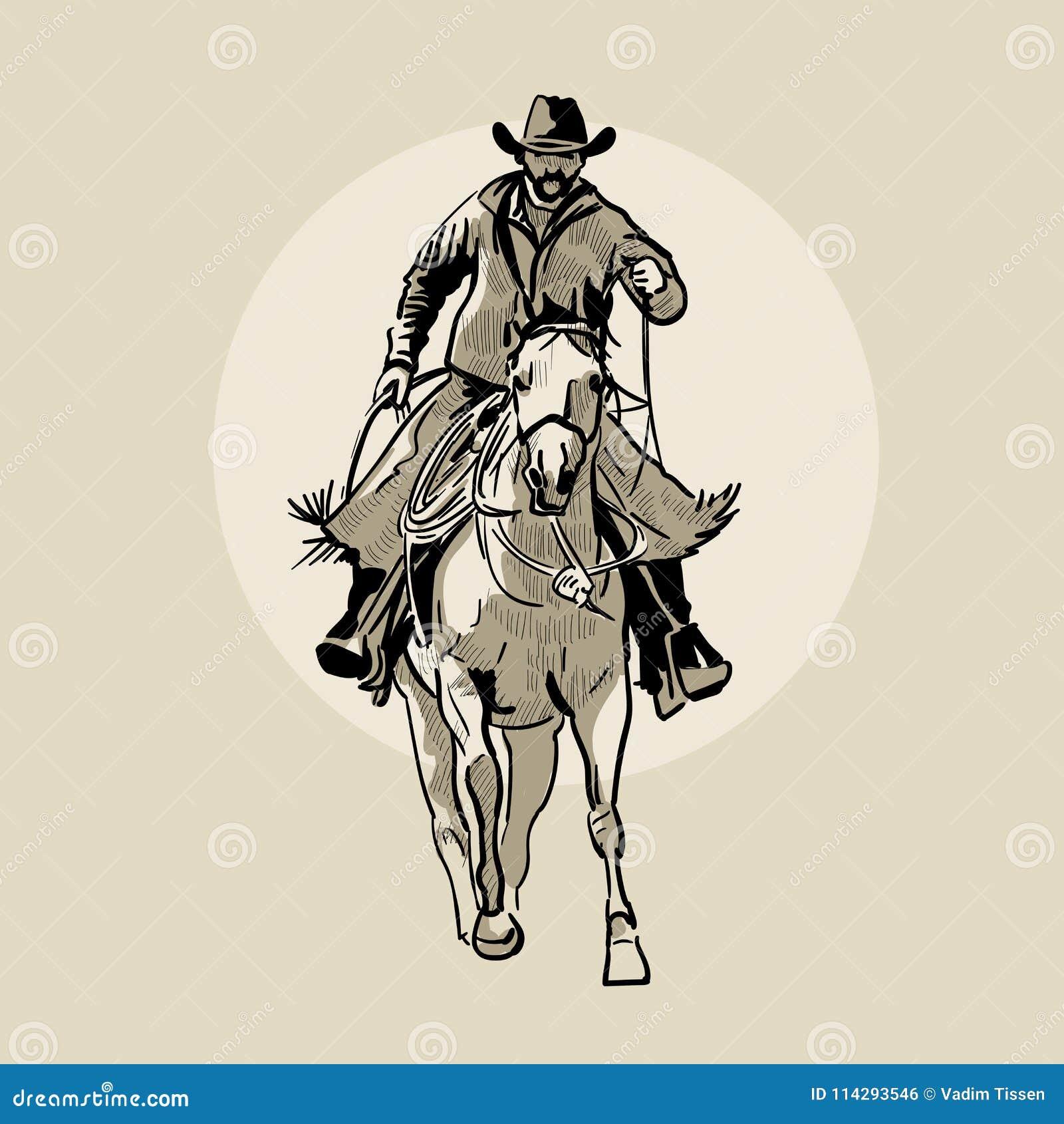 Amerikaans cowboy het berijden paard Hand getrokken illustratie Handschets Illustratie