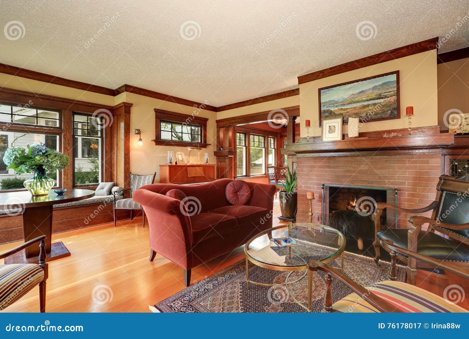 Amerikaans klassiek woonkamer binnenlands ontwerp stock foto ...