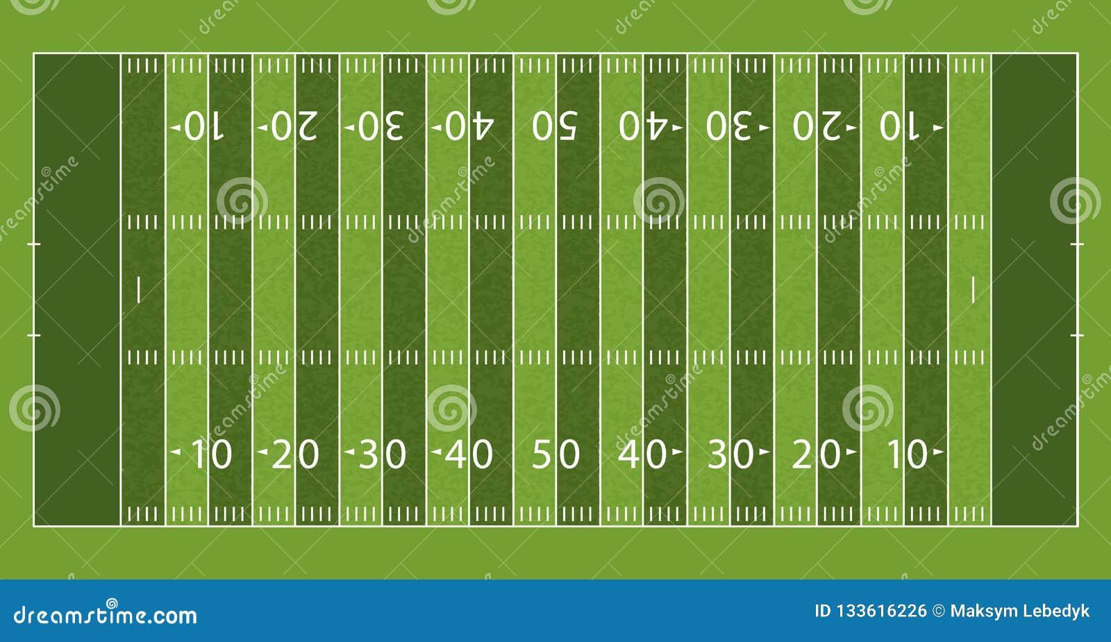Amerikaans Voetbalgebied met Lijn en Grastextuur Vector illustratie