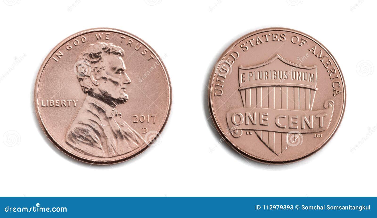 Amerikaanse men cent, de V.S. 1 c, bronsmuntstuk isoleert op witte backgro