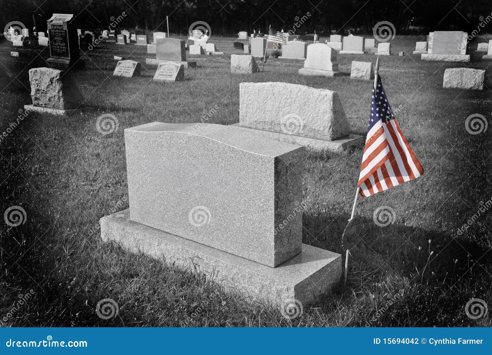 Amerikaanse vlag door grafsteen