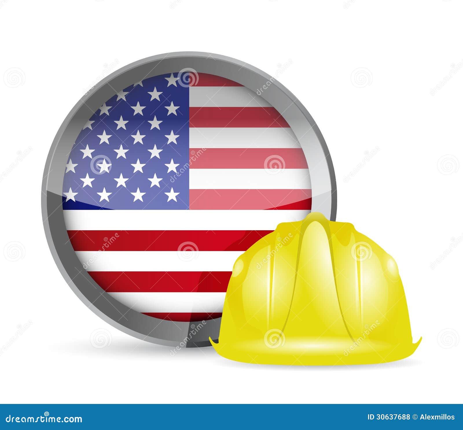 Amerikaanse Vlag En Bouwhelm Stock Illustratie