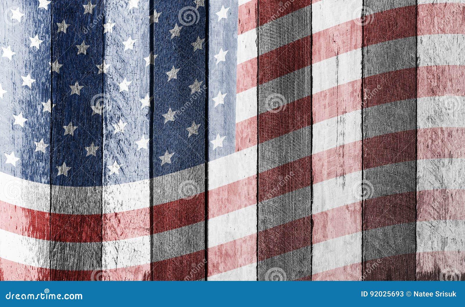 Plaid Amerikaanse Vlag.Amerikaanse Vlag Op Oude Houten Achtergrond Stock Afbeelding