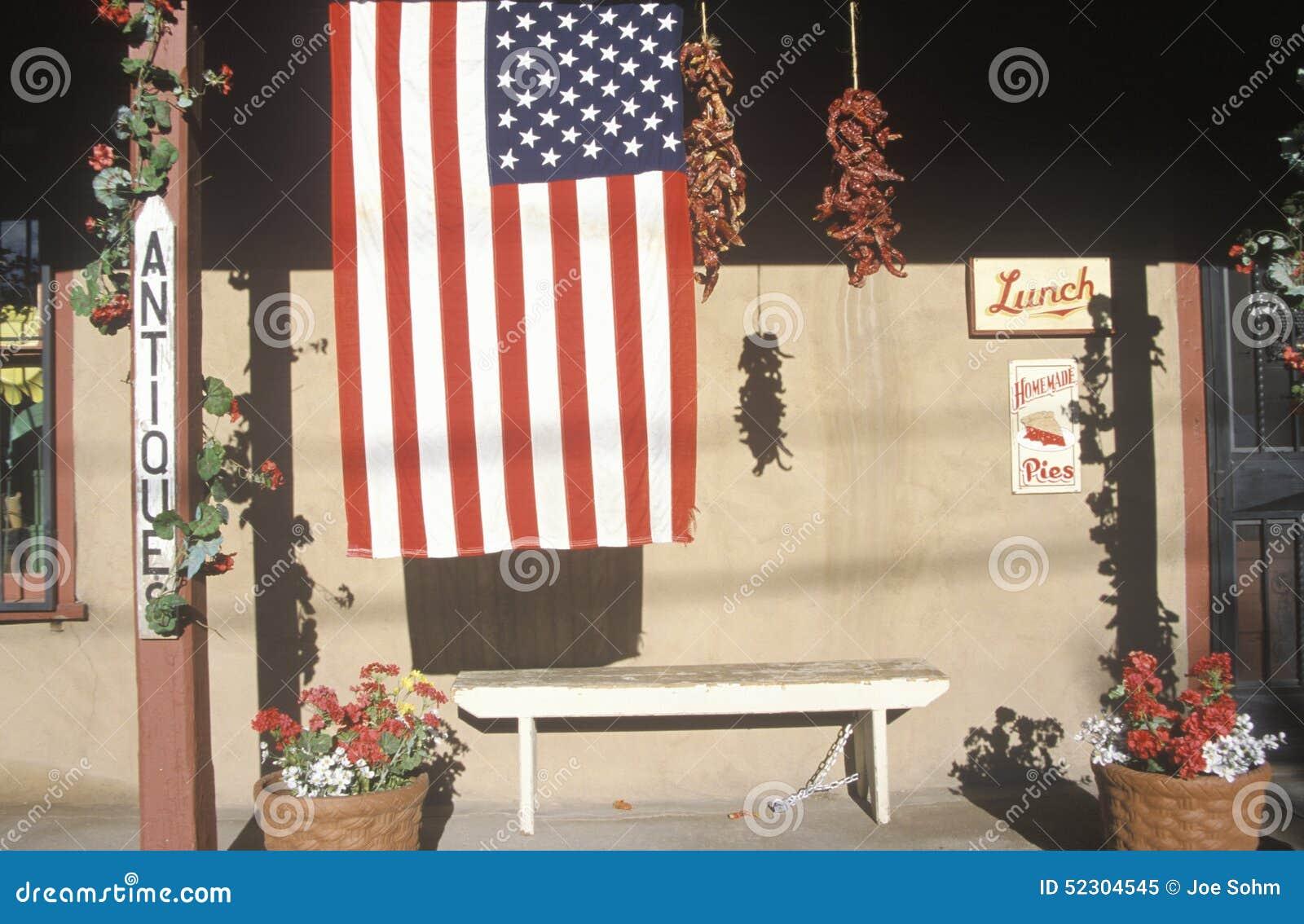 Amerikaanse Vlag voor Antieke Opslag, Santa Fe, New Mexico