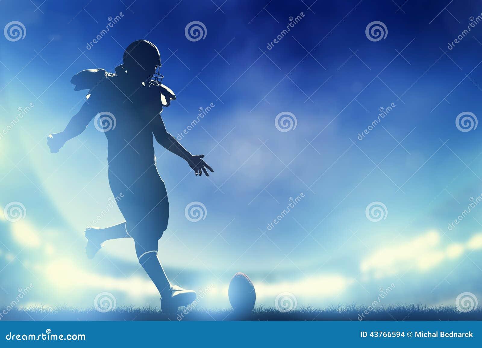Amerikaanse voetbalster die de bal, aftrap schoppen