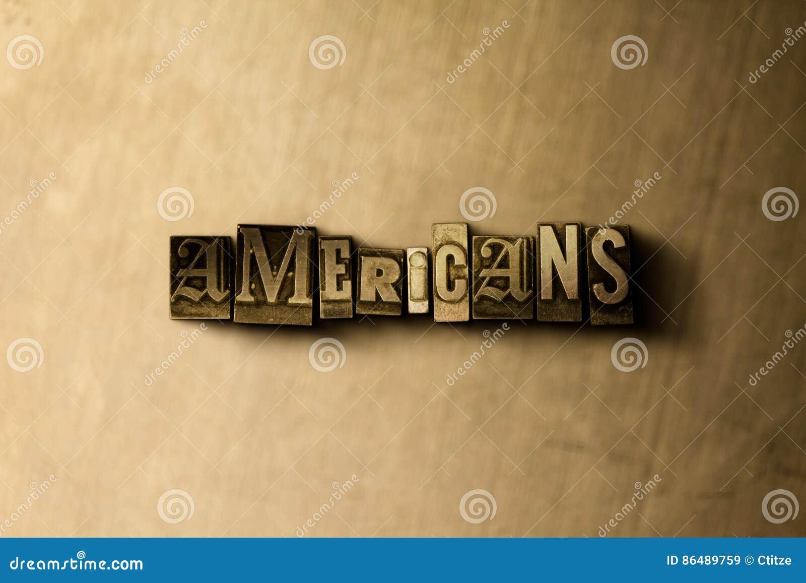 AMERIKANEN - close-up van grungy wijnoogst gezet woord op metaalachtergrond