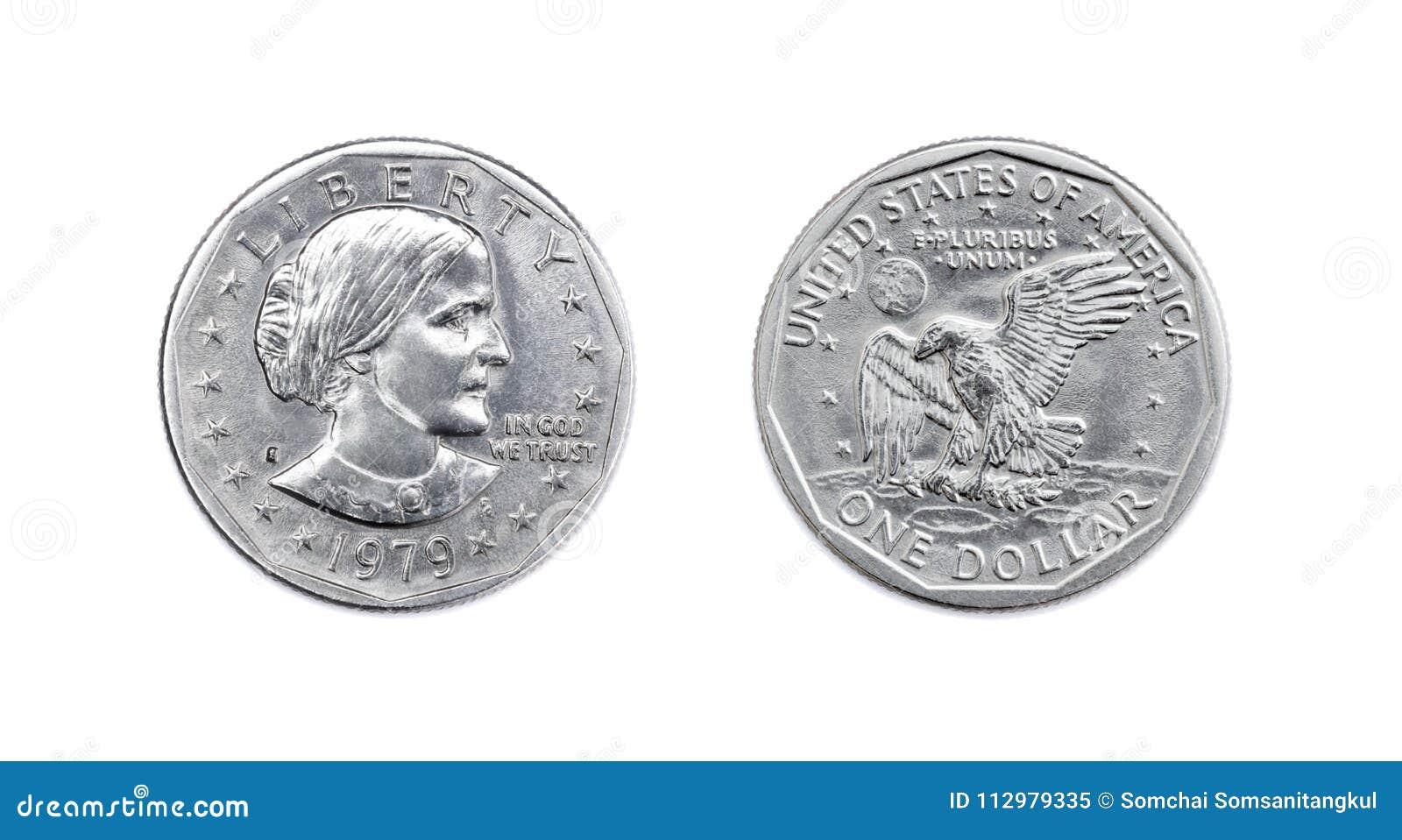 Amerikaner Eine Dollarmünze Isolat Beider Seiten Auf Weißem