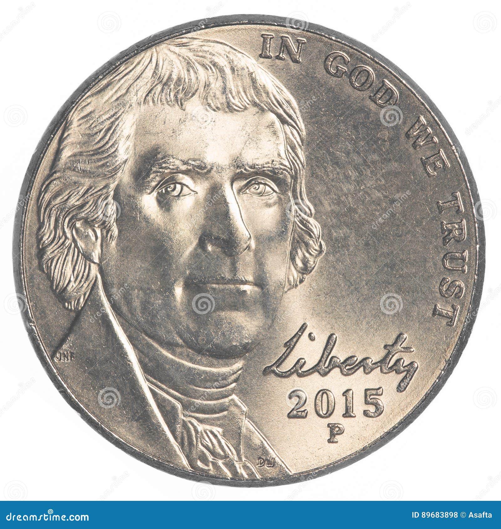 Amerikaner Fünf Cent Münze Jefferson Nickel Stockfoto Bild Von