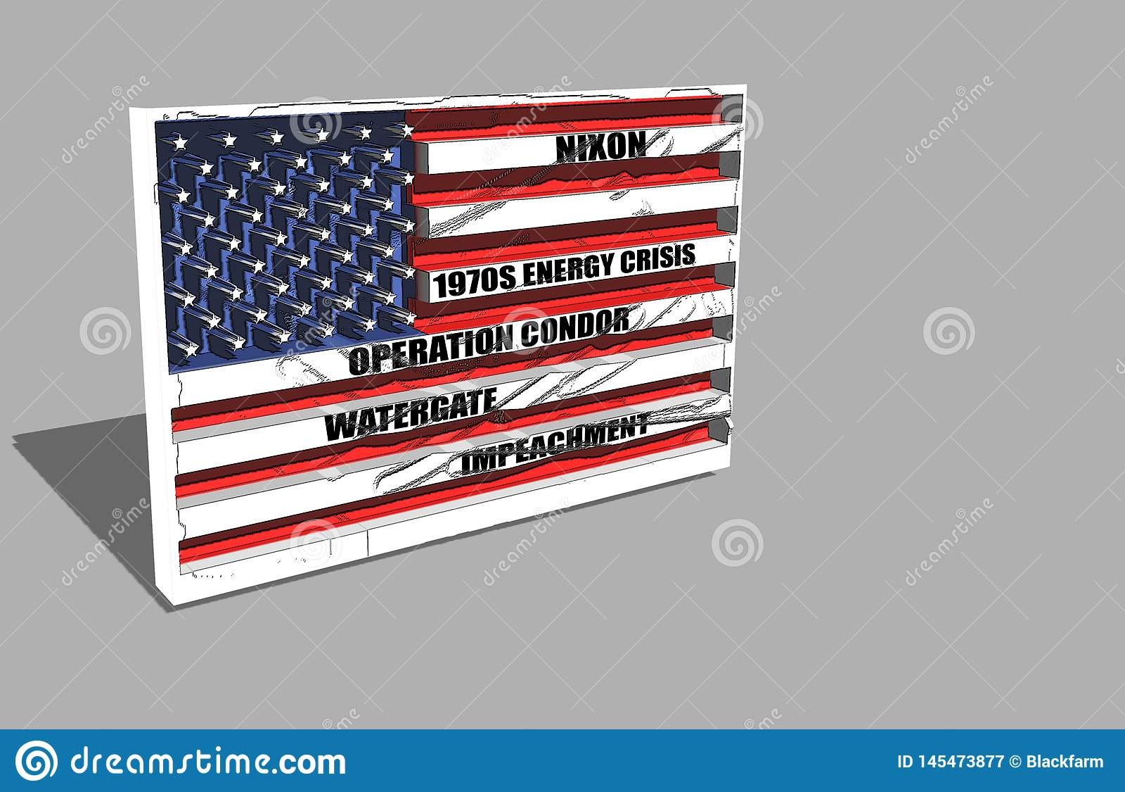 Amerikanische Flagge über Nixon