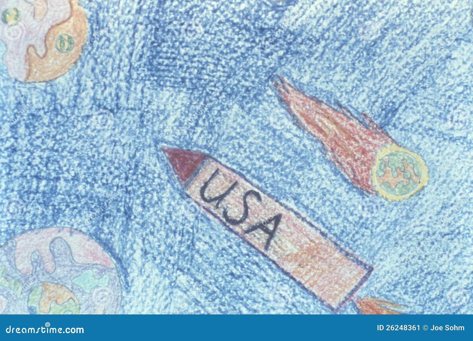 Amerikanische Rakete im Weltraum