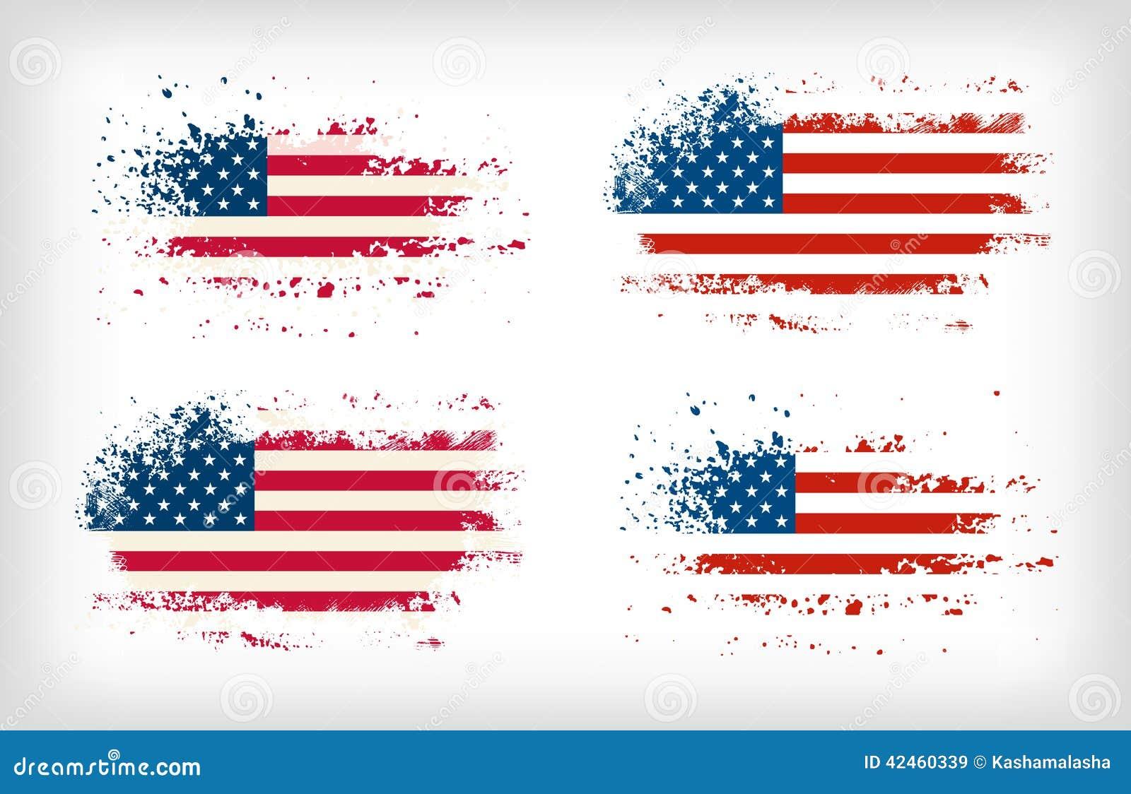 Amerikanische Tinte des Schmutzes plätscherte Flaggenvektoren