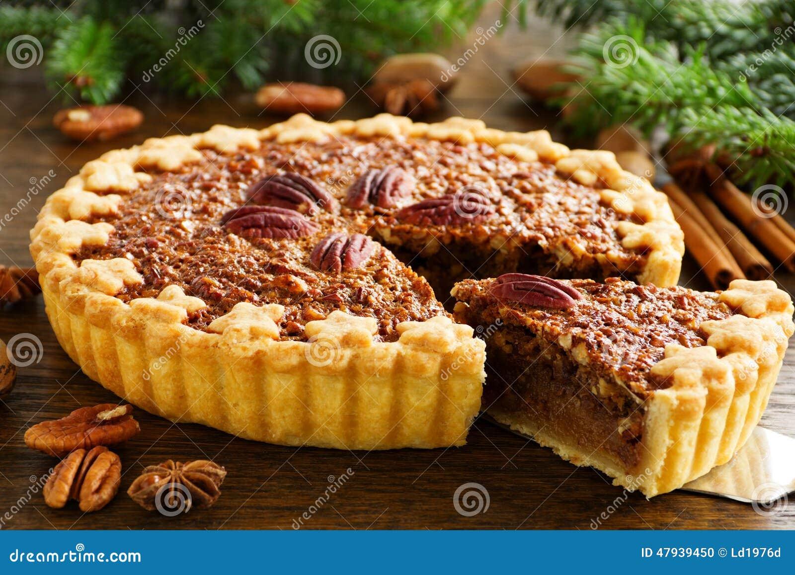 Amerikanischer Klassischer Kuchen Mit Pekannussen Stockfoto Bild