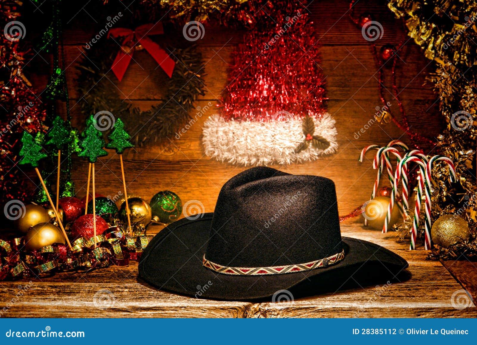 Amerikanische Weihnachtskarten.Amerikanischer Westrodeo Cowboyhut Für Weihnachtskarte Stockfoto