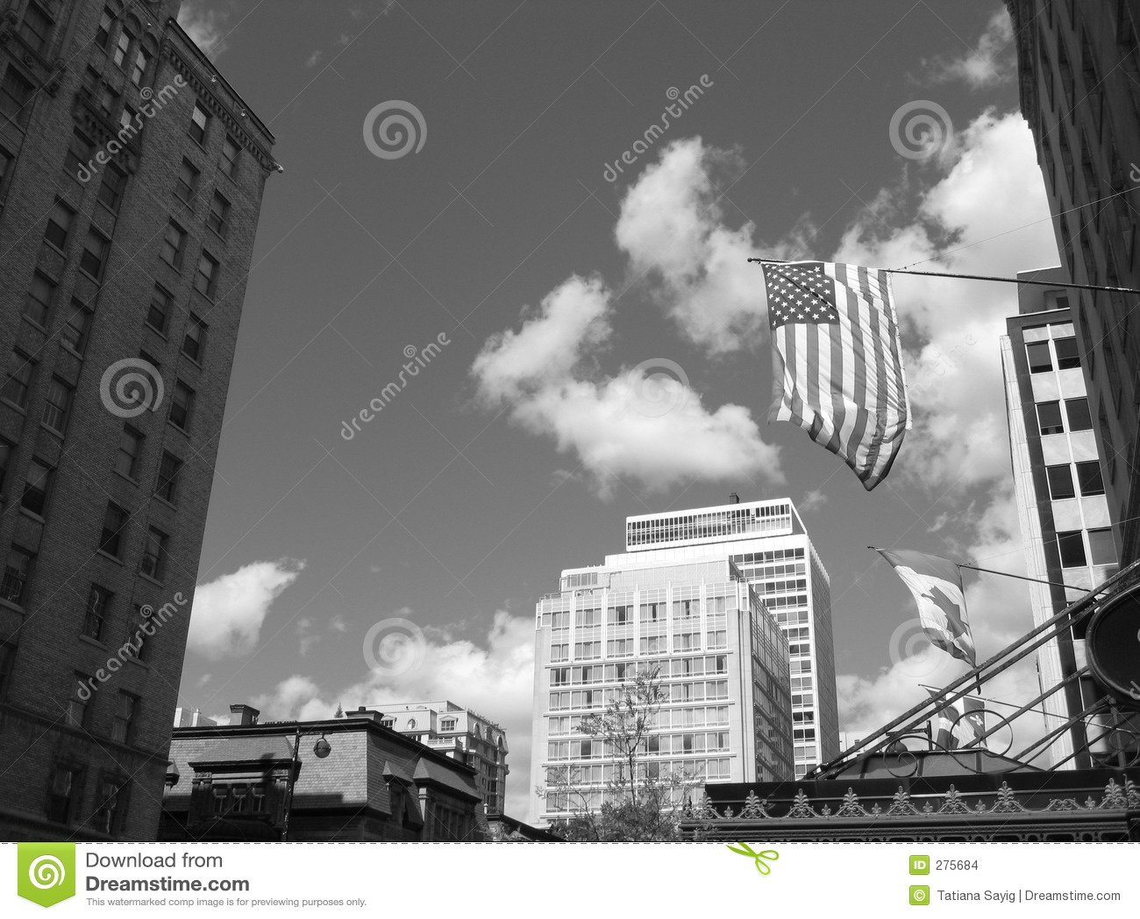 Amerikansk kanadensisk flagga w för b