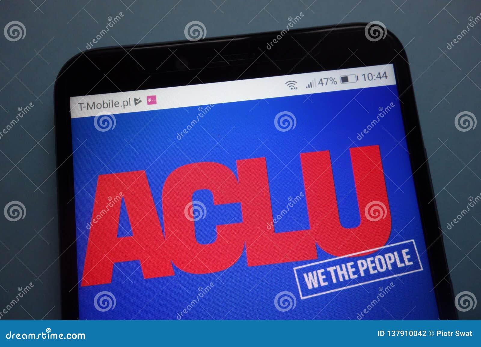 Amerikansk logo för medborgelig rättunion ACLU på smartphonen