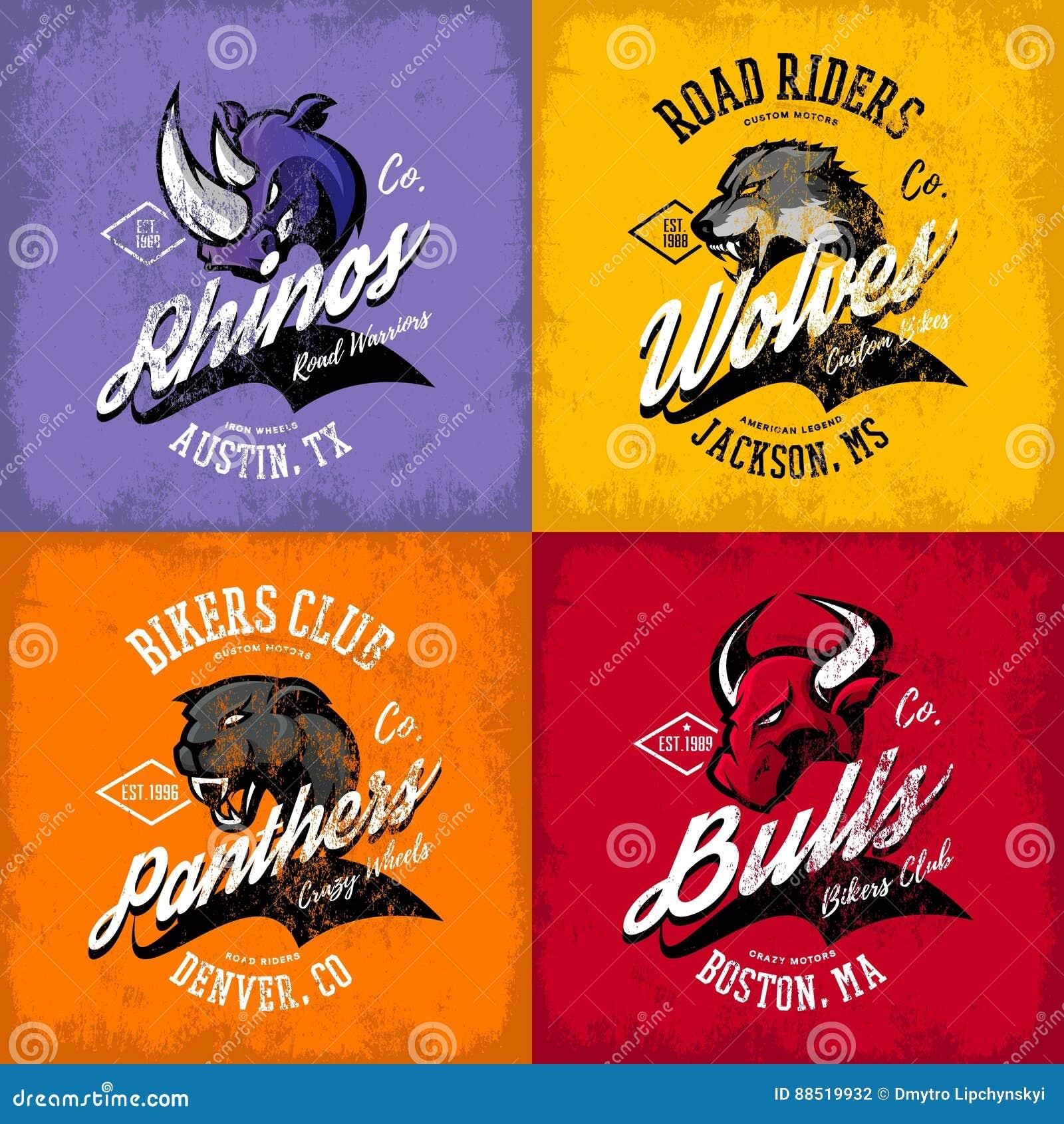 Amerikansk rasande tjur för tappning, varg, panter, design för vektor för tryck för utslagsplats för noshörningcyklistklubba