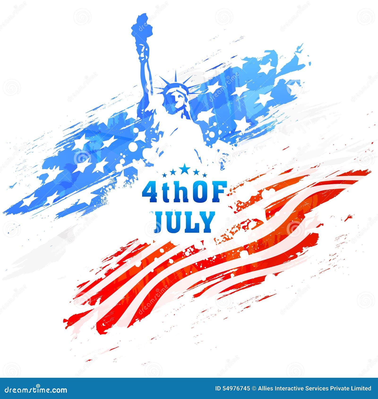 Amerikansk självständighetsdagenberöm med statyn av frihet