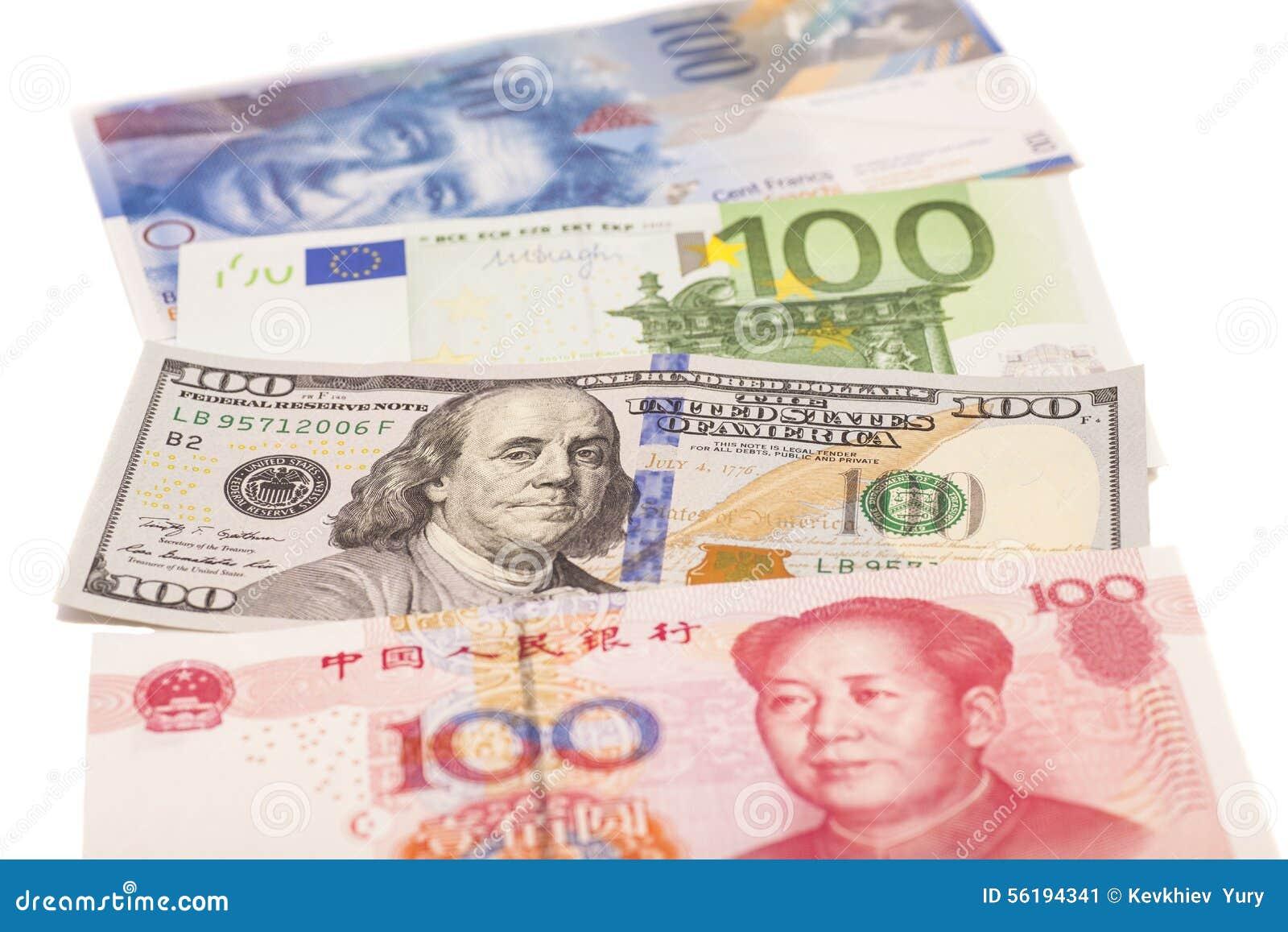 Amerikanska dollar, europeiskt euro, schweizisk franc- och kinesyuanräkningar