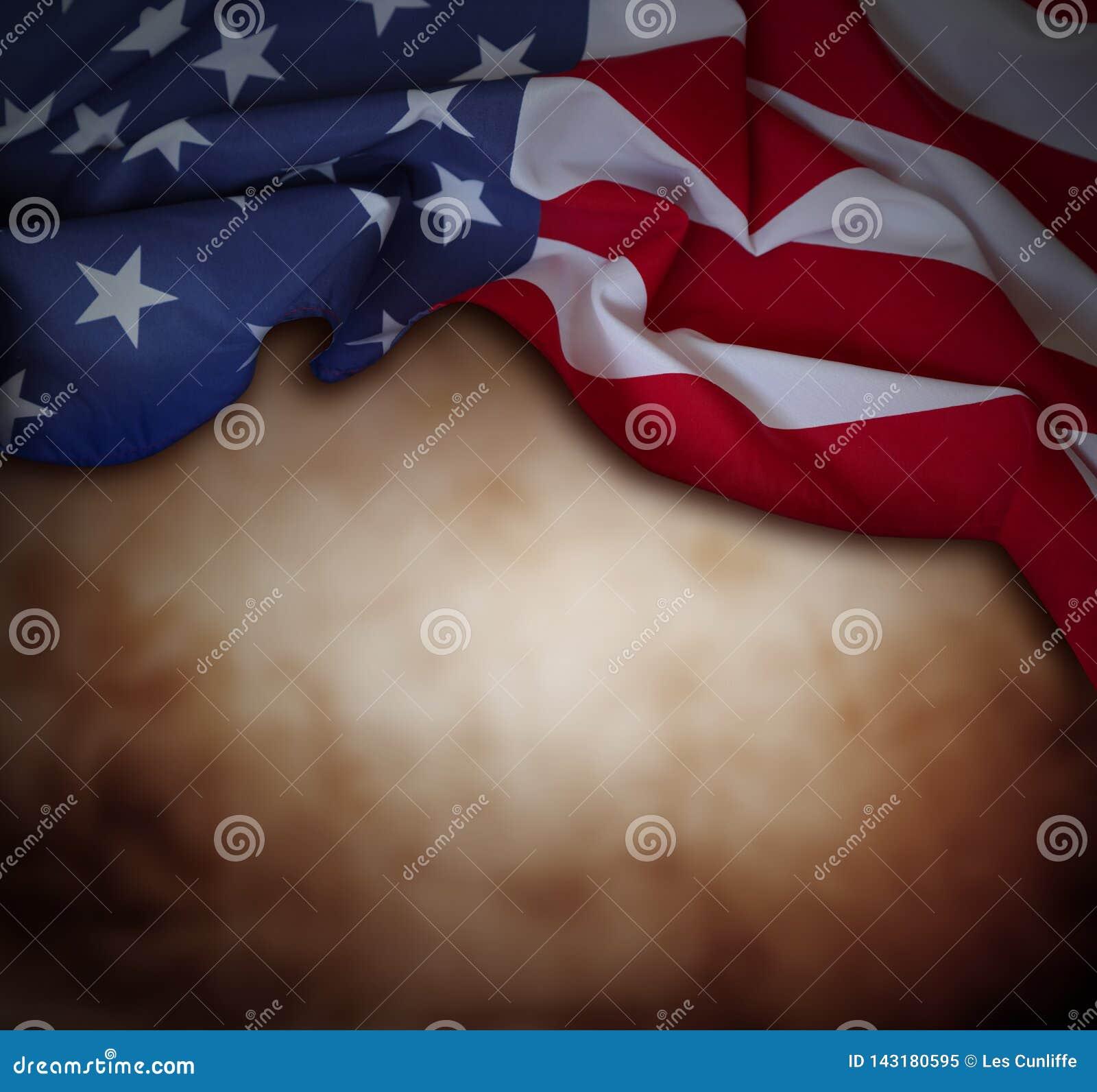 Amerikanska flaggan på brunt