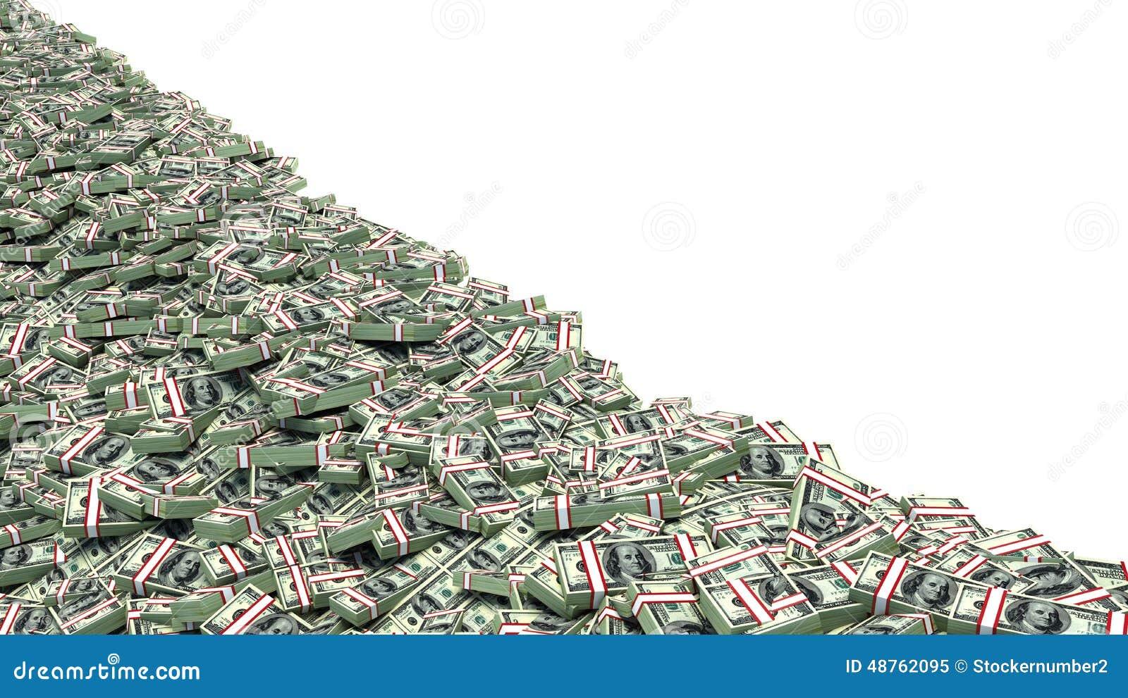 Amerikanska stora dollar pengarstapel dollar över vit bakgrund