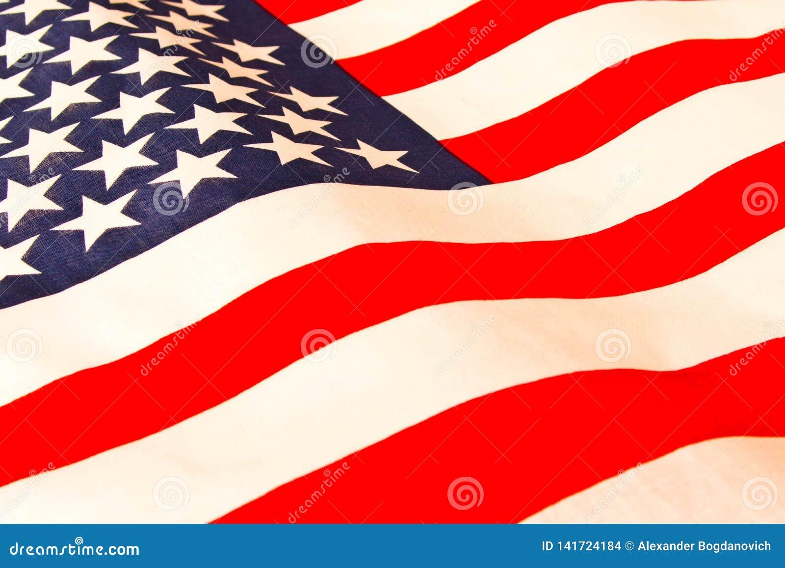 Amerykańska flaga z bliska Flaga amerykańskiej tło Pojęcie patriotyzm