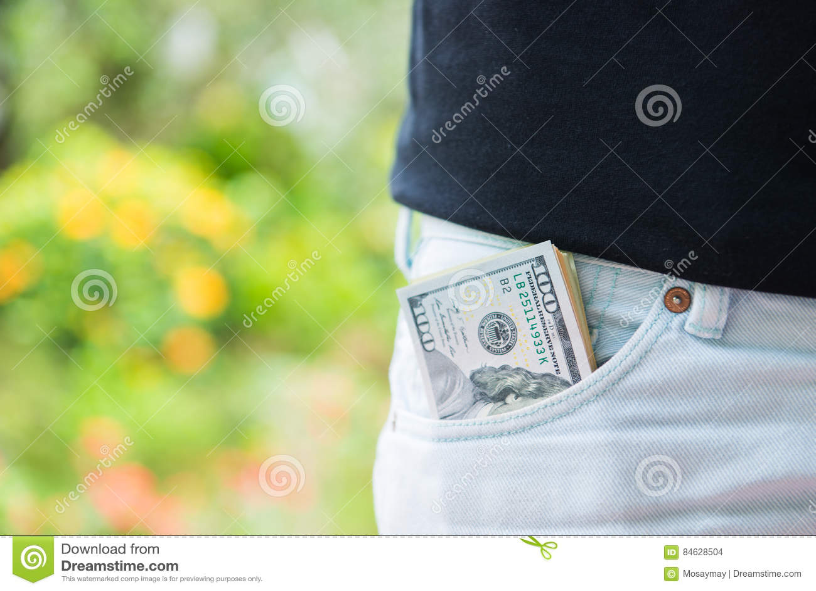 Amerykańscy dolary pieniądze w kieszeni
