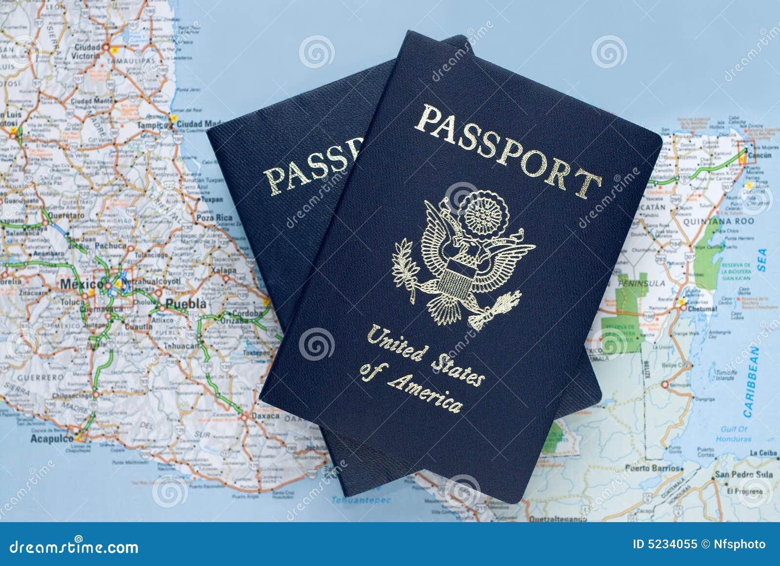 Amerykańska karaibska nad paszportami mapa Meksyku