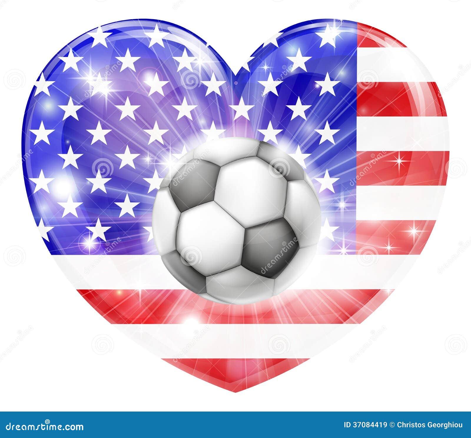 Download Amerykańska Piłki Nożnej Serca Flaga Ilustracja Wektor - Ilustracja złożonej z tło, amerykanin: 37084419
