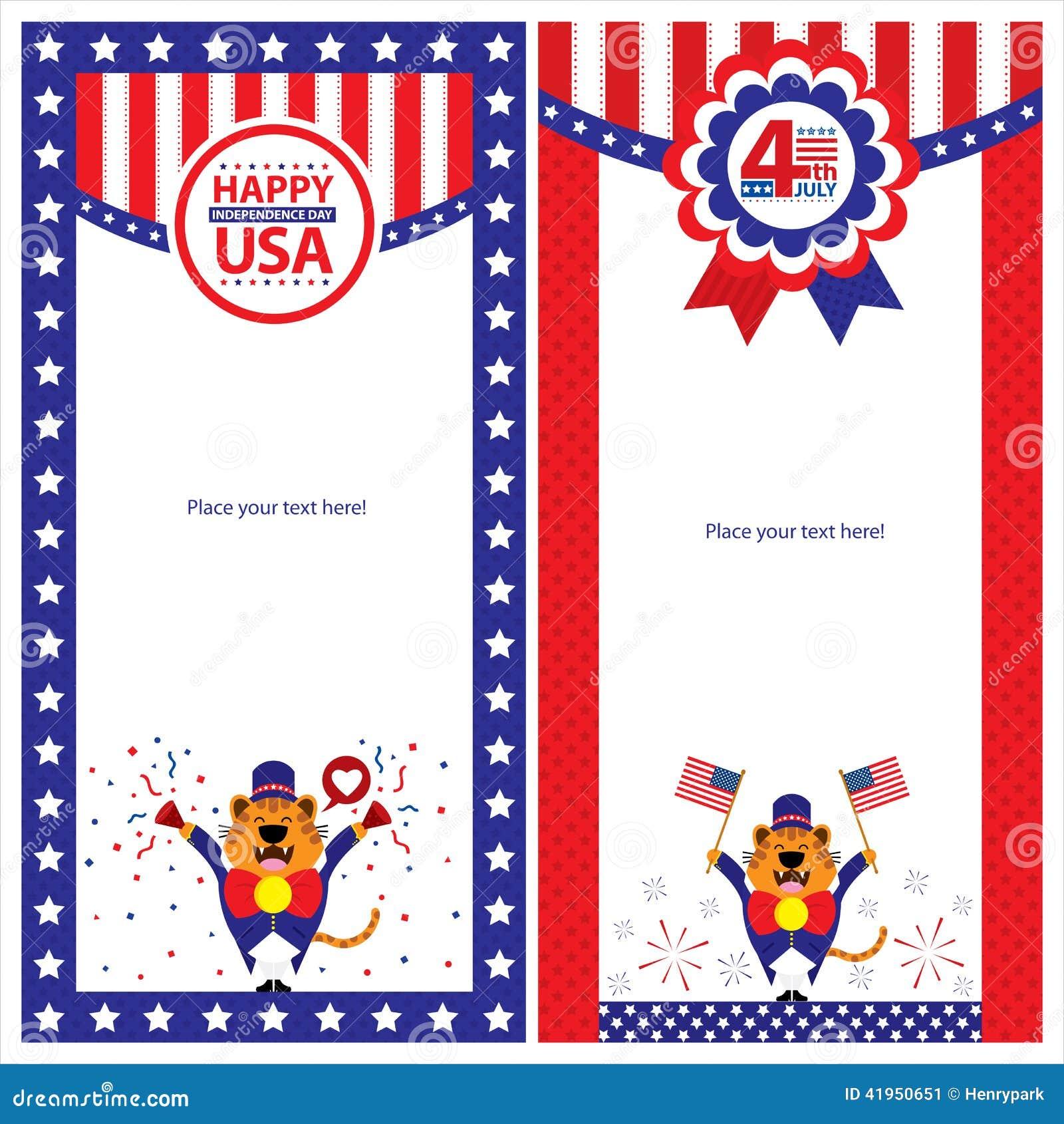 Amerykańskiego dnia niepodległości szablonu karciani sety