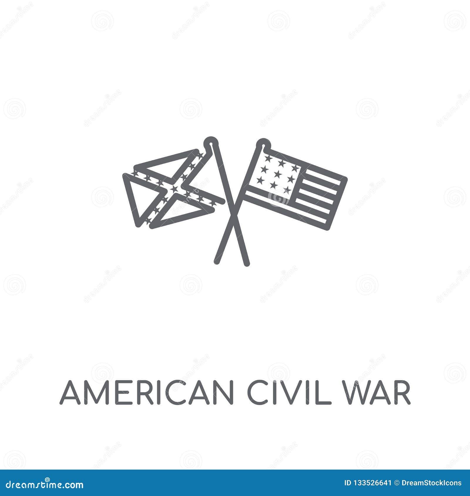 Amerykańskiej wojny domowej liniowa ikona Nowożytnego konturu amerykański cywilny wa