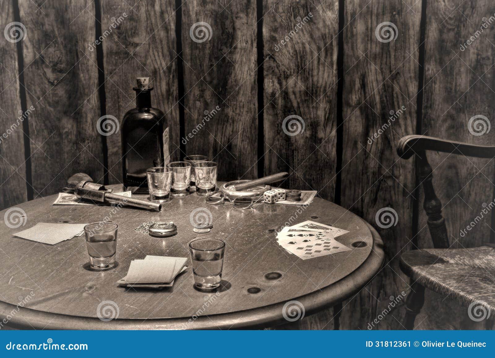 Amerykańskiej Zachodniej legendy Antykwarski bar Uprawia hazard stół