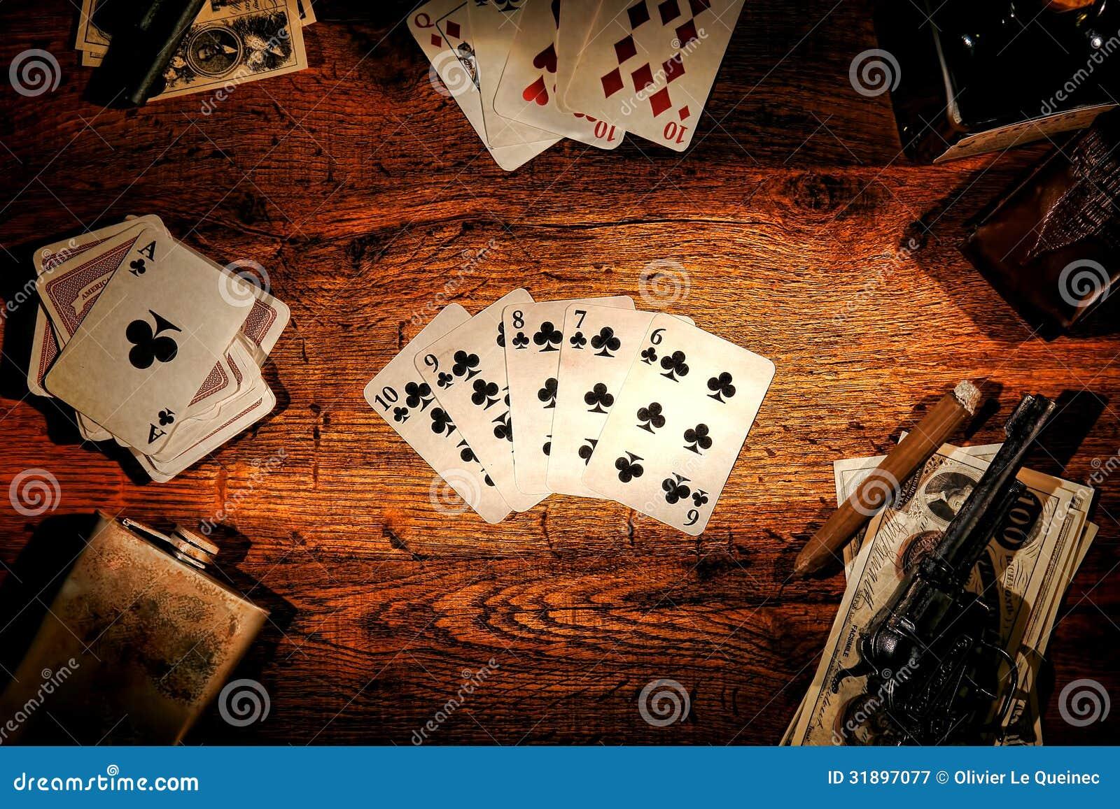 Amerykańskiej Zachodniej legendy Starej partii pokeru Prosty sekwens