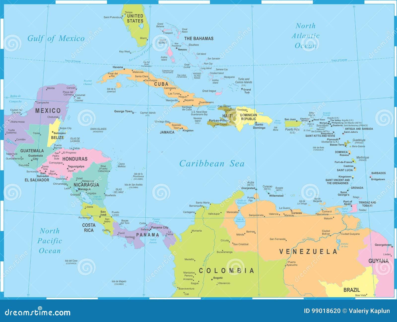 Ameryka Srodkowa Mapa Wektorowa Ilustracja Ilustracji