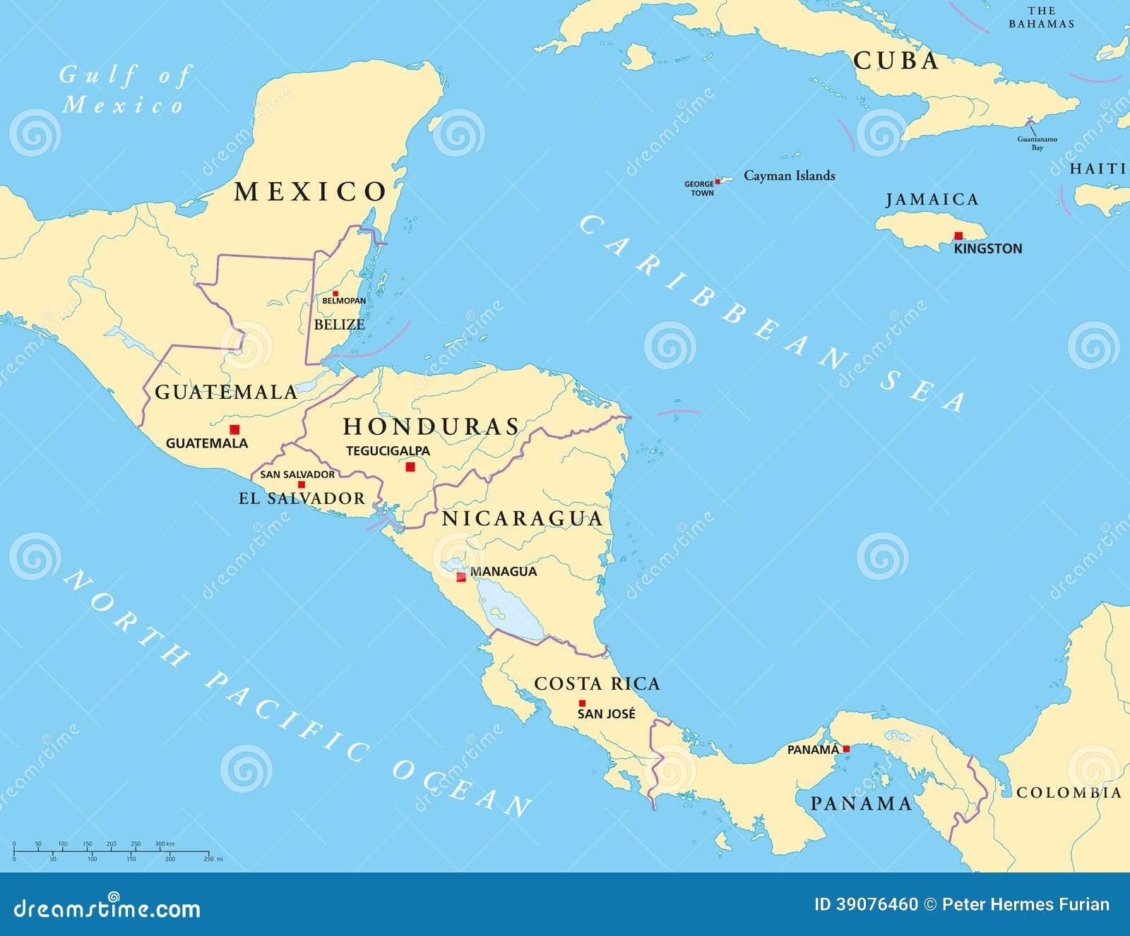 Ameryka Srodkowa Polityczna Mapa Ilustracja Wektor Ilustracja