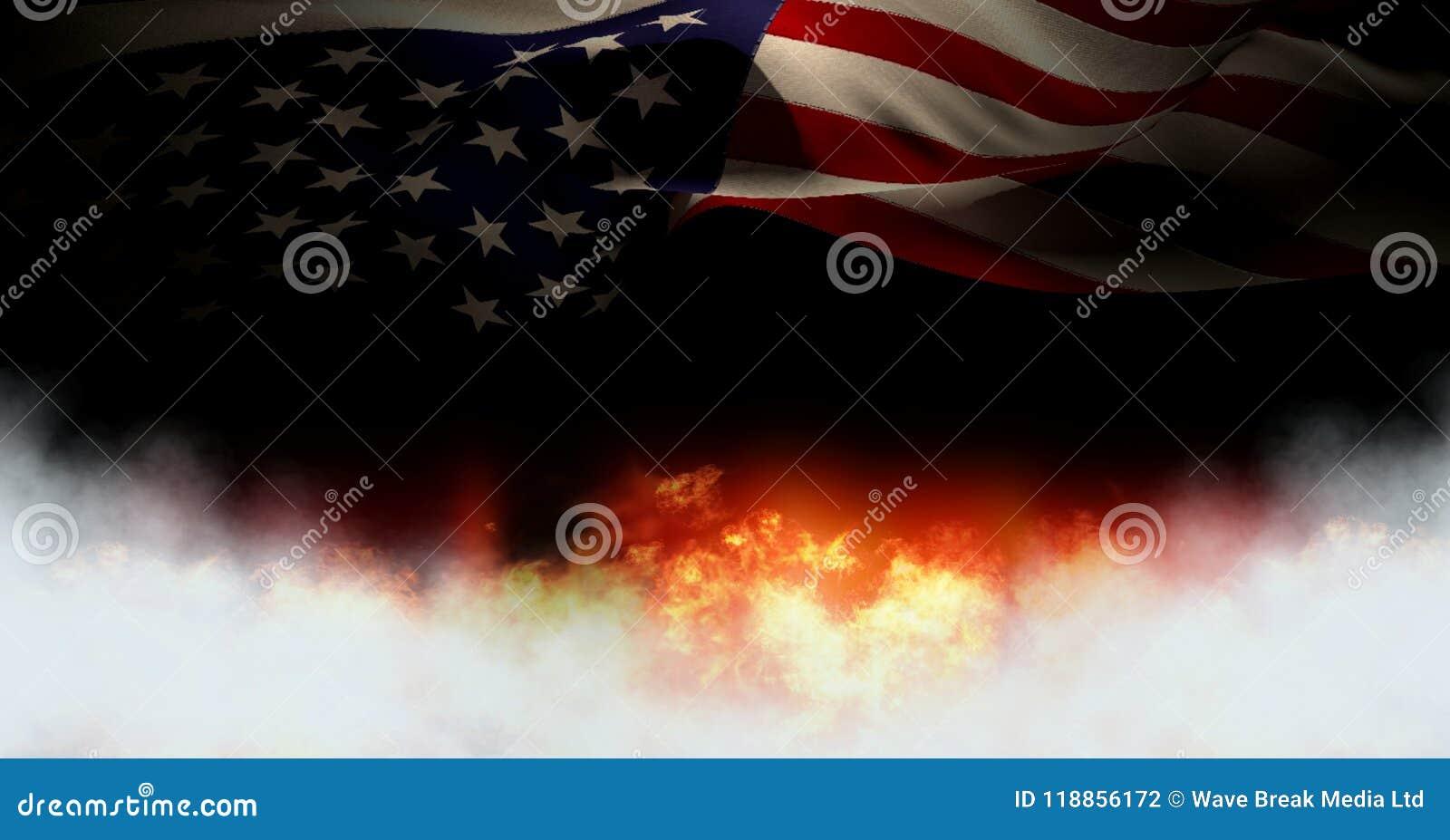 Ameryka flaga i palenie ogień