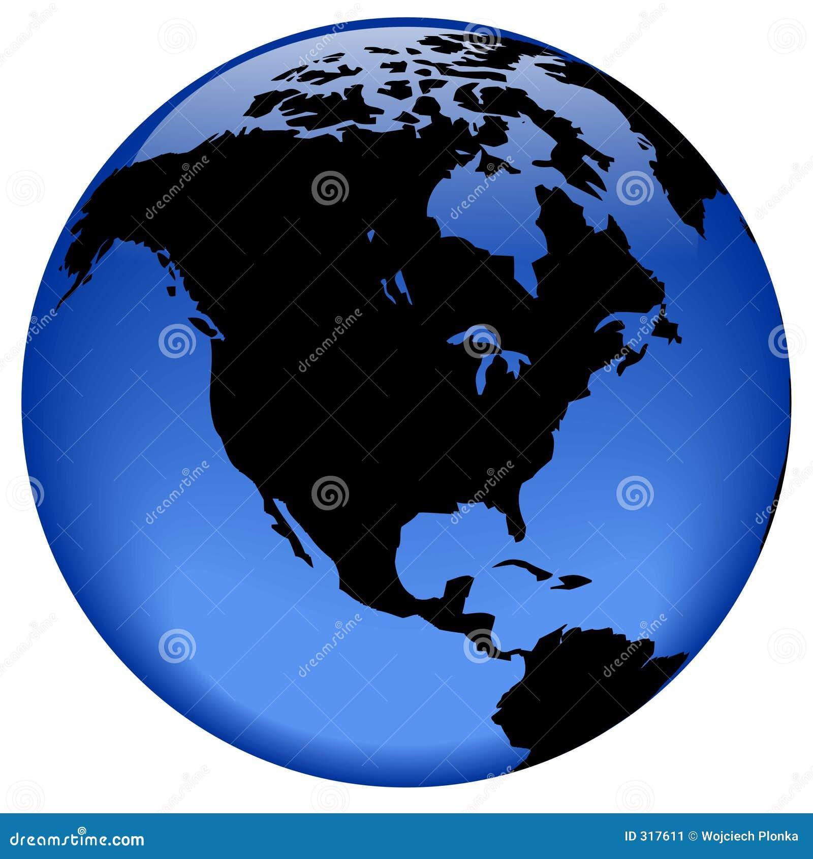 Ameryka globe północy widok